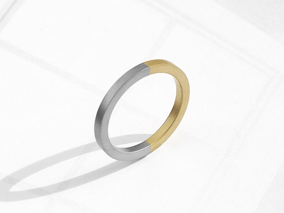 MADEGREY - Two Tone Minimal Ring | Matte Gold