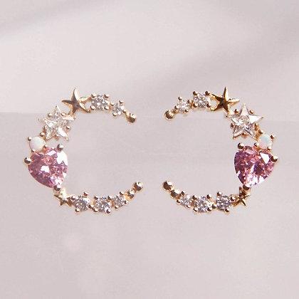 Love By The Moon -  Walk By the Sea Pink Earrings (Opal)