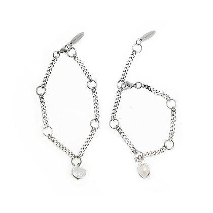 AGARIC GARDEN - Aura 個性 珍珠 / 雙尖白水晶 手鍊