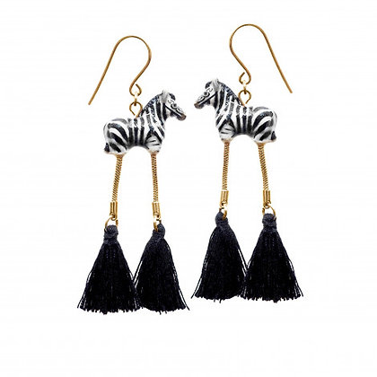 NACH BIJOUX - Zebra With Pompom Earrings