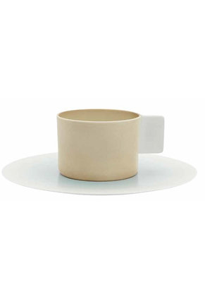 1616 Cup & saucer - brown & white & light blue