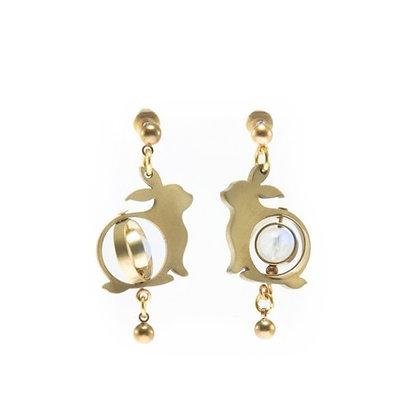 AGARIC GARDEN - F091-BMOON 月光石玉兔耳環