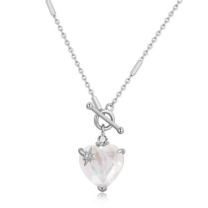 Love By The Moon - MOONSTONE TOGGLE GOLD NECKLACE - HEART 的副本