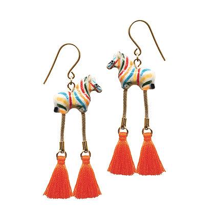 NACH BIJOUX - Colorful Zebra With Pompom Earrings