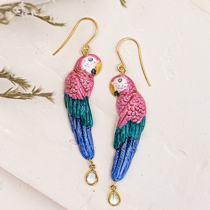 Nach - PINK PARROT WITH PENDANT EARRINGS