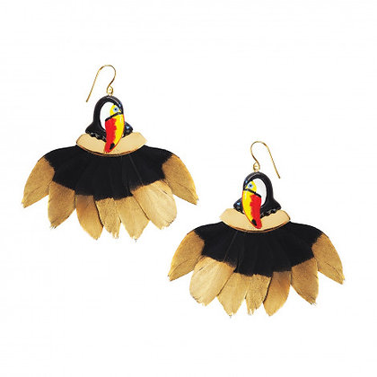 Nach Bijoux TOUCAN HEAD WITH FEATHER EARRINGS