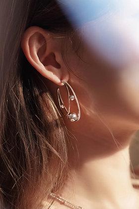 Love By The Moon - CZ SILVER HOOP EARRINGS - ORBIT