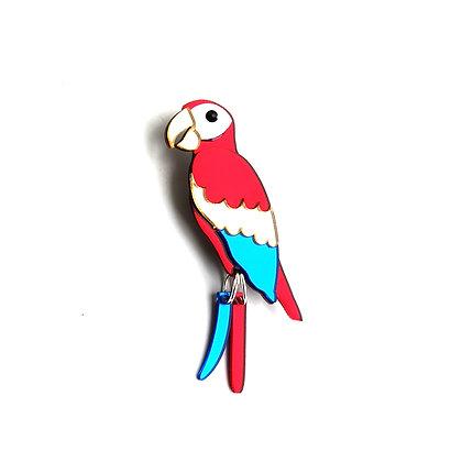 Scarlet Macaw Brooch