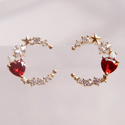 Love By The Moon - Walk By the Sea Red Earrings (Opal)