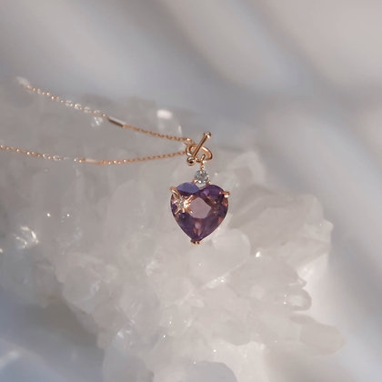 Love By The Moon - AMETHYST TOGGLE GOLD NECKLACE - HEART