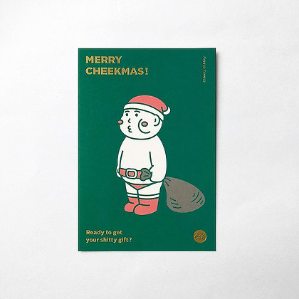 "cheeky cheeky - ""Merry Cheekmas"" Christmas card (Green)"