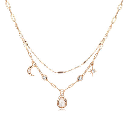 Love By The Moon - MOONSTONE GOLD LAYERED NECKLACE- NEW MOON WISHES
