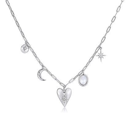 Love By The Moon - MOONSTONE SILVER CHOKER - HEART SPACE