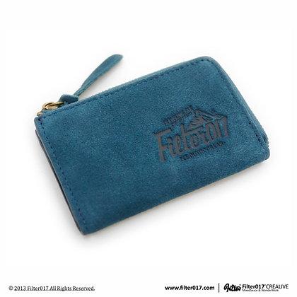 Outdoor Logo 麂皮零錢鑰匙包 / 藍