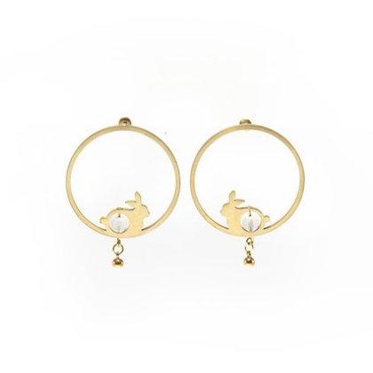 AGARIC GARDEN - F096-BMOON 滿月玉兔耳環