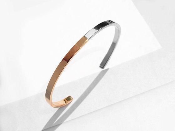 MADEGREY - Two Tone Minimal Cuff Bracelet | Polished Rose Gold