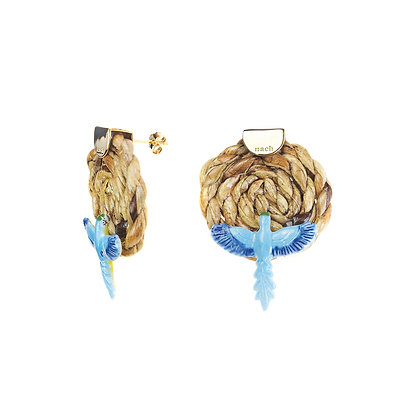NACH BIJOUX - Wicker Bleu Parrot Earrings