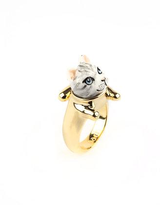 NACH BIJOUX - Tabby Grey Cat With Legs Ring