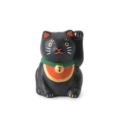 陶土招福黑貓擺件(附吉簽) - 中川政七商店