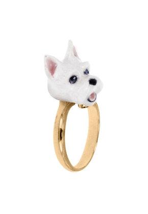 Nach - Adjustable ring white scottish dog