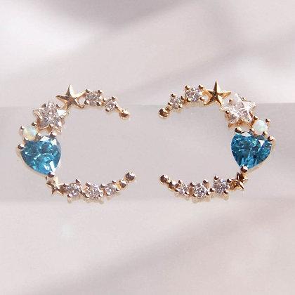 Love By The Moon - Walk By the Sea Blue Earrings (Opal)