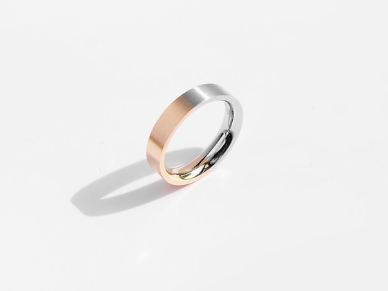 MADEGREY - Brushed Two-Tone Ring | Rose Gold