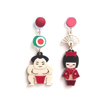 Fabcessories - Geisha & Sumo Earrings