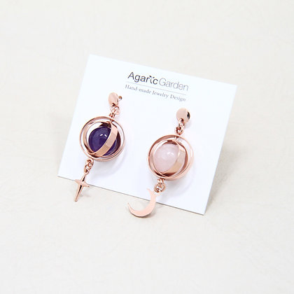 AGARIC GARDEN - Moons 雙色礦石星月耳環