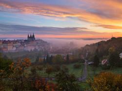 Prague, Lever de soleil sur Petrin