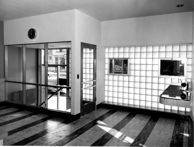 Inside remodeled bank