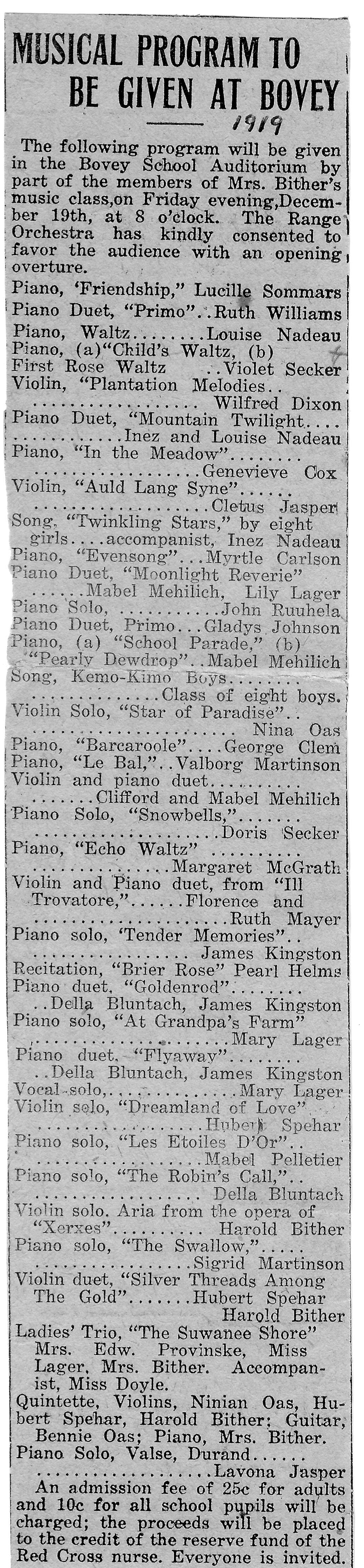 1919 Musical Program