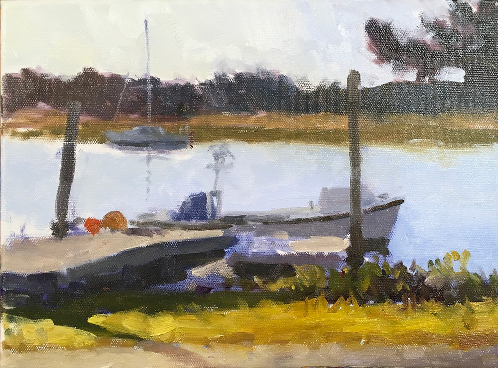 "A 9x12"" Painting of several boats on the creek"