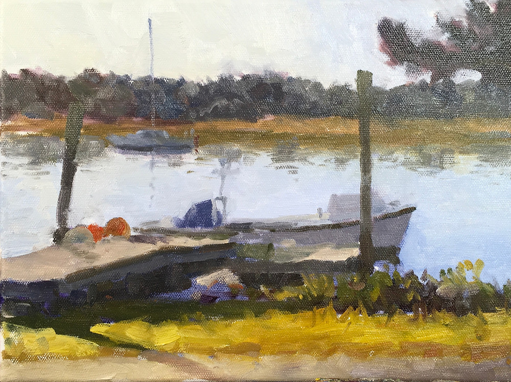 A painting of boats on a creek with a dock, in progress