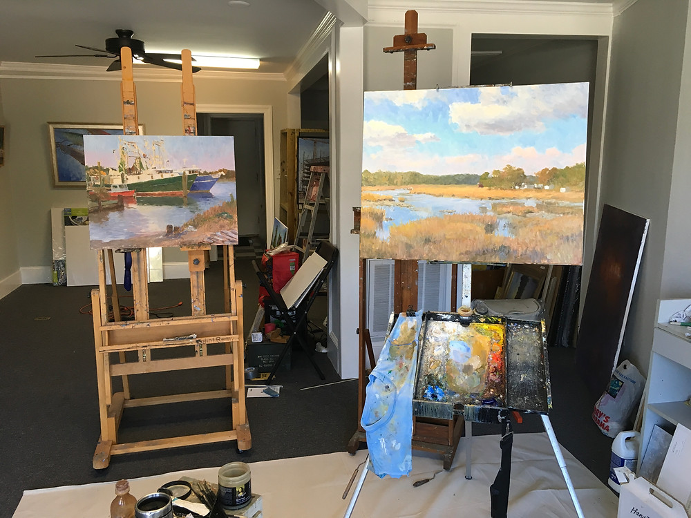 2 new paintings on easels in my studio