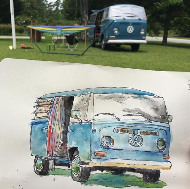 Sketchbook drawing of Dave's 1970 VW Bus.