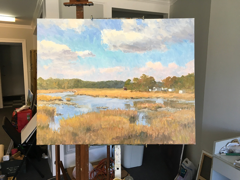 "24x30"" oil painting of a creek and sky in the fall"