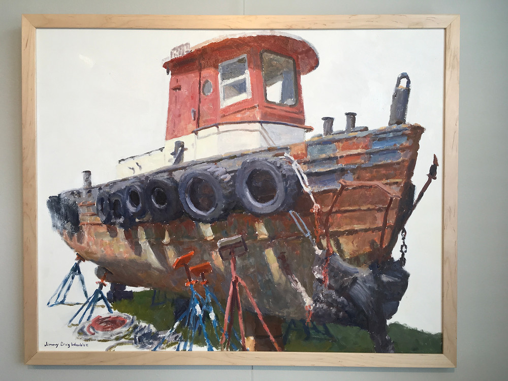 oil painting of a rusty, dry docked tug boat on a white background