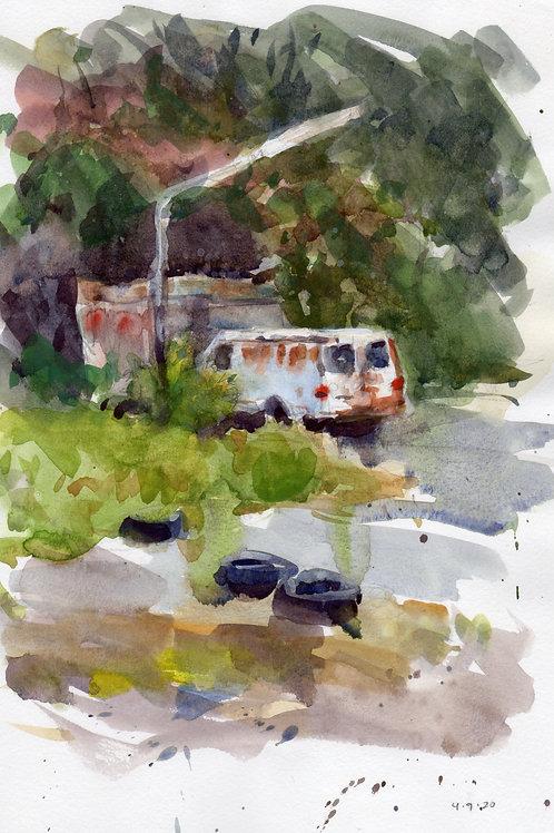 """Tired van"" watercolor"