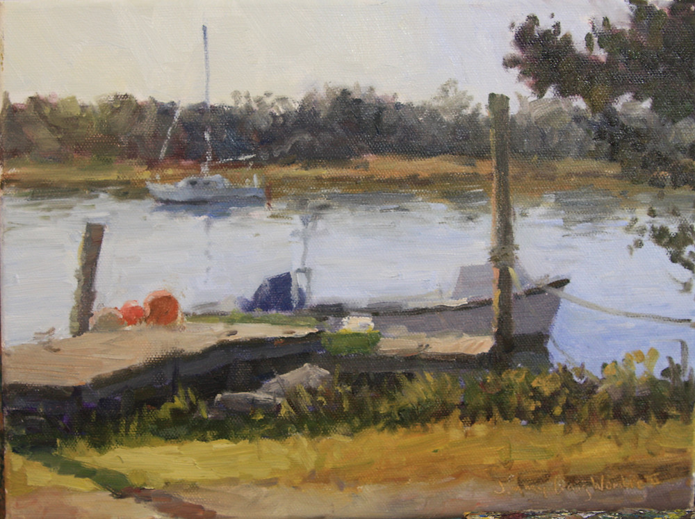 A painting of boats and a dock on the Creek in Beaufort, NC.