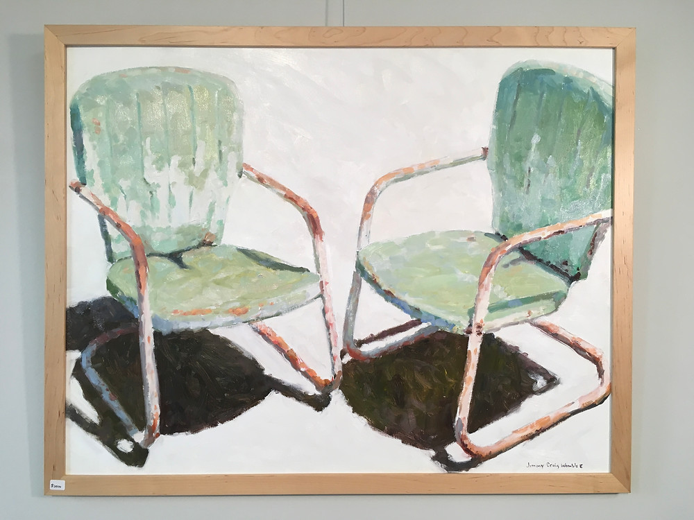 oil painting of 2 views of the same green, rusty lawn chair on a white background