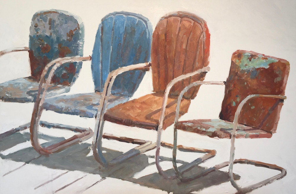 oil painting of 4 rusty lawn chairs on a white background