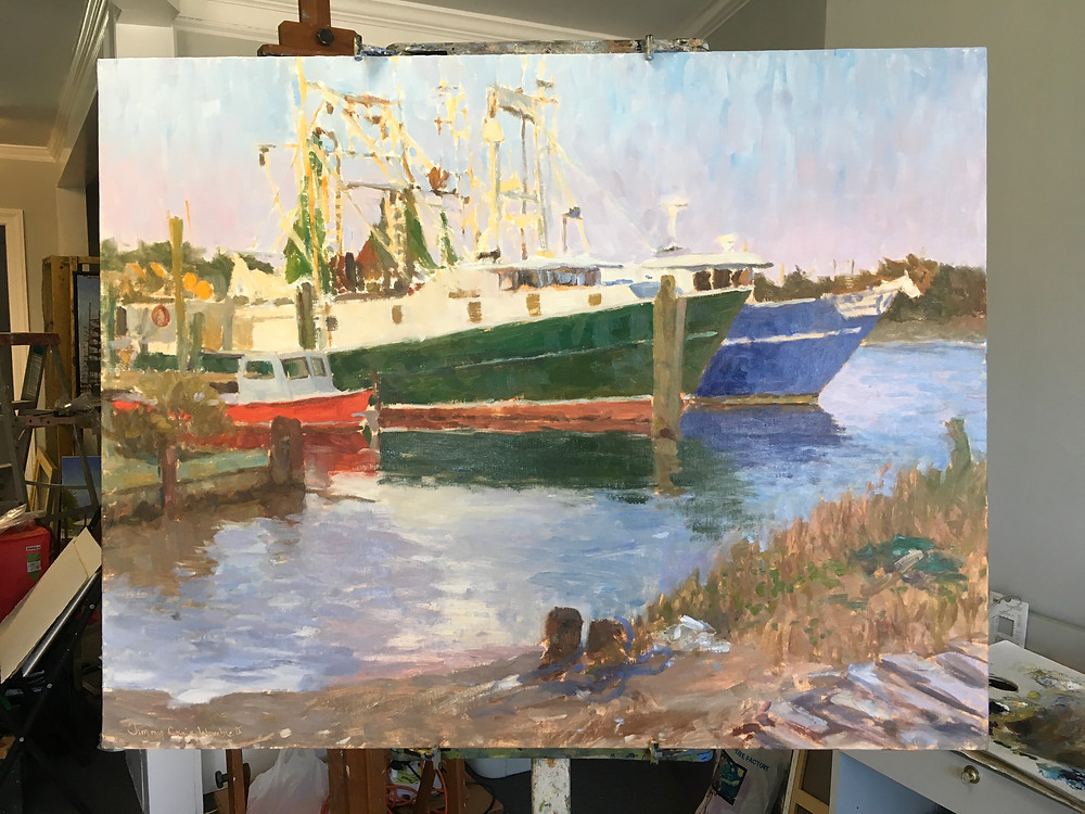 "22x28"" painting in progress. 3 boats"