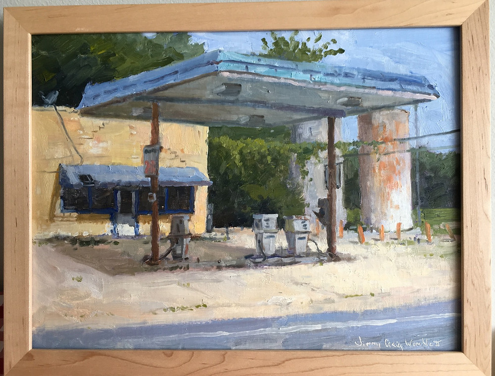 A painting of an abandoned gas station.