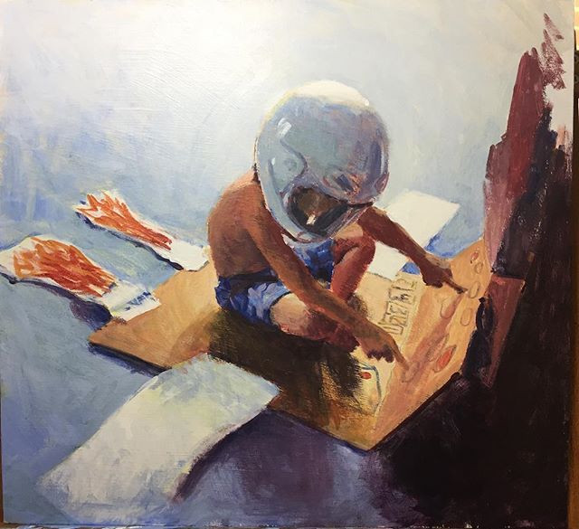 A painting of a child playing astronaut.