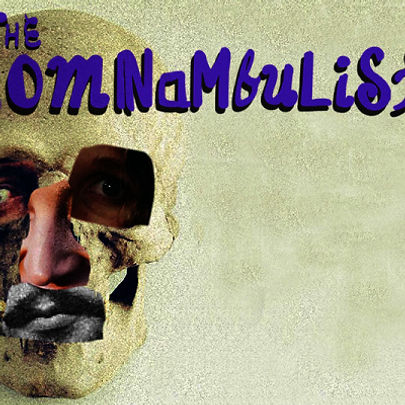 """A collaged skull with the words """"The Somnambulists"""" written in a funky purple font."""