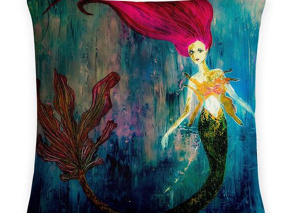 Rainbow Mermaid Print Pillow