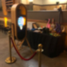 Retro mirror photo booth rental wit photo booth props and photo booth backroud in orange county