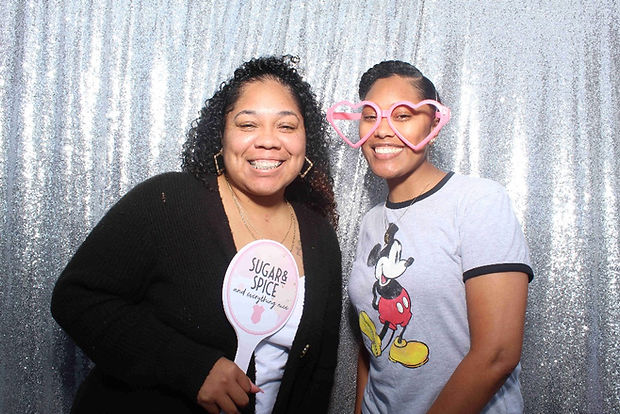 Women Posing For Photo Booth Rental At A Baby Shower