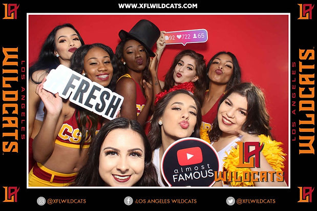 LA XFL Wildcats Cheerleaders Posing For Photo Booth Rental