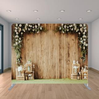 Premium Wooden Flowers Backdrop
